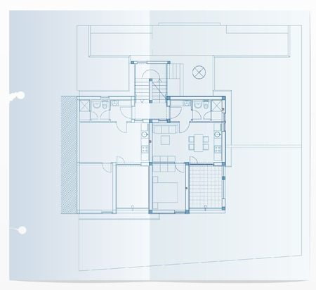 vector realistic illustration of blueprint with small apartments Vector