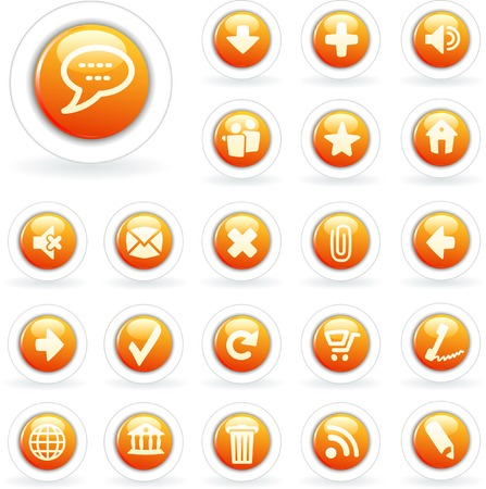 vector orange buttons for web, computing etc. Vector
