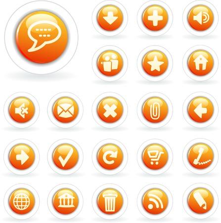 vector orange buttons for web, computing etc. Stock Vector - 3856716