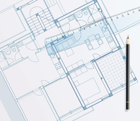vector realistic illustration of the blueprint with ruler Vector