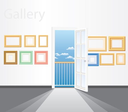 resize: vector gallery room with free layer for your images, it is easy to resize frames and place your photo