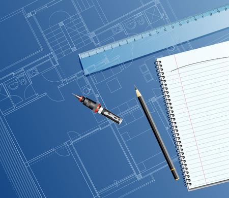 vector realistic illustration with blueptint, ruler and pencil Vector
