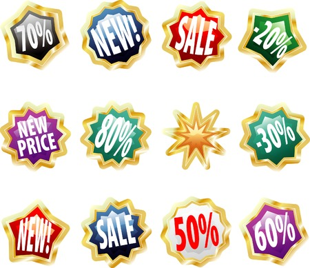 vector golden price labels with text in different layer Vector
