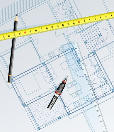 glass ceiling: vector realistic blueprint of the house with pencil