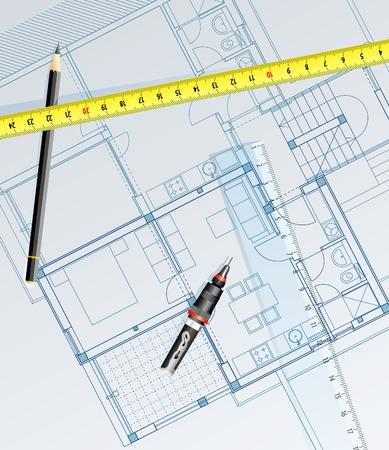 construct: vector realistische blauwdruk van het huis met potlood