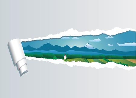 mountain meadow: vector de vista sobre el paisaje a trav�s de papel rasgado