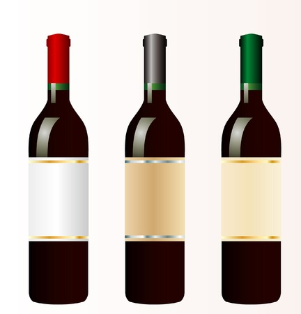 chianti: vector illustration of the three bottles of red wine