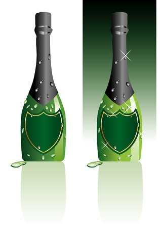 vector illustration of the blank champagne bottle Vector