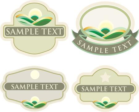 productos naturales: vector de etiquetas para los productos naturales