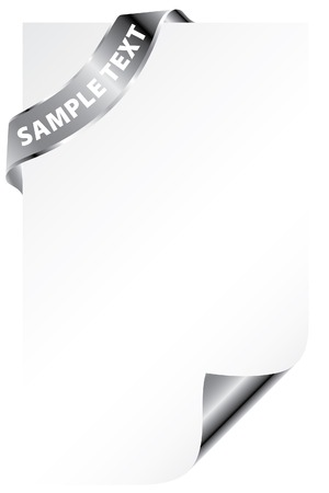 vector blank paper with silver ribbon Vector