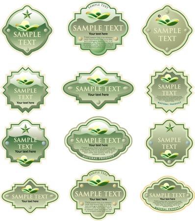 vector retro designed green labels Vector
