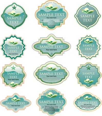 vector turquoise labels for diverse products Vector