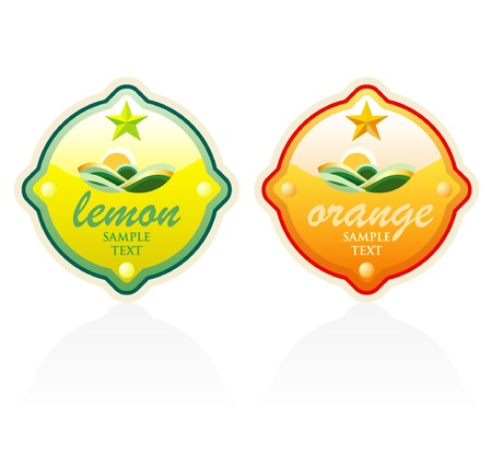 vector labels for products of lemon and orange Vector