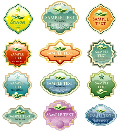 vector labels for various products like food beverages, cosmetics etc. Stock Vector - 4348176