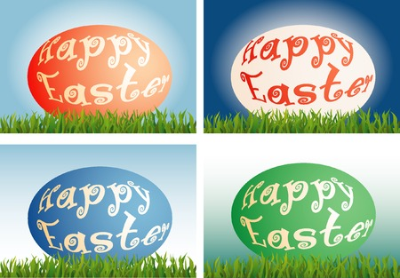vector Easter cards in four color variations Vector