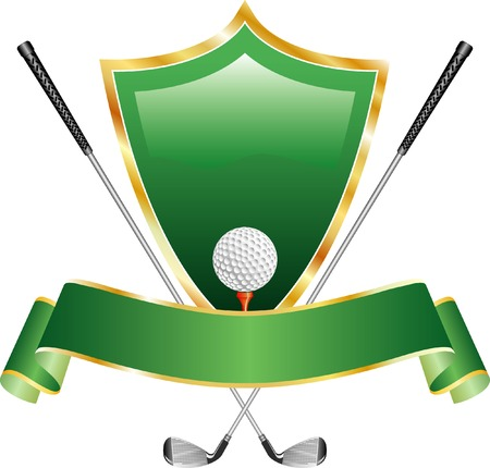 vector gold golf award with shield Stock Vector - 4358477