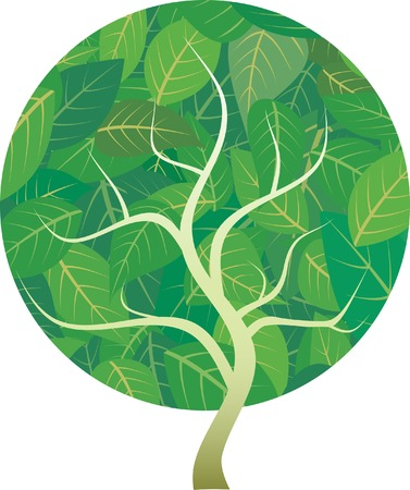 vector abstract tree with green leaves Vector