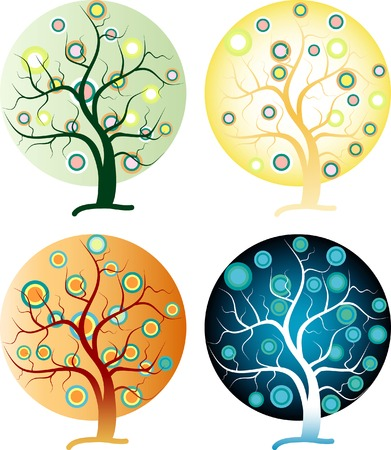 vector abstract tree in four seasons Vector