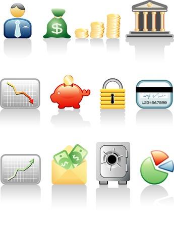 vectores iconos de las finanzas y la banca