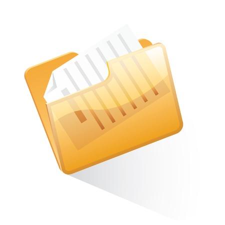 vector orange folder with document Stock Vector - 4519455