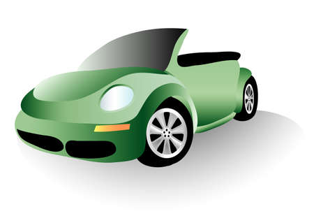 vector illustration of the green new beetle bug car Stock Vector - 4581646