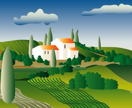zypresse: Vektor Zusammenfassung Landschaft aus Italien oder Frankreich
