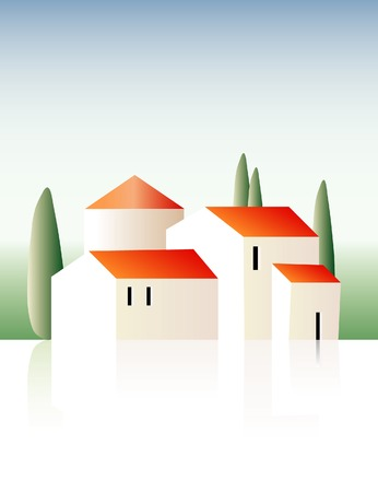 vector illustration of the provence villa