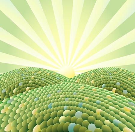 Vektor Sonnenaufgang in abstrakte Landschaft Wald