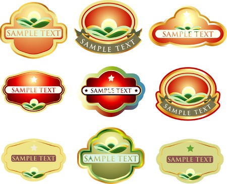 famous industries: vector labels for various products Illustration