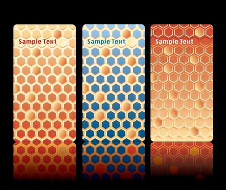 vector business cards with honeycomb texture Vector
