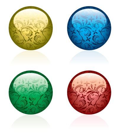 vector shiny buttons with floral ornament Vector