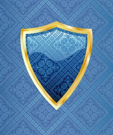 vector blue shield with golden frame Stock Vector - 4723572