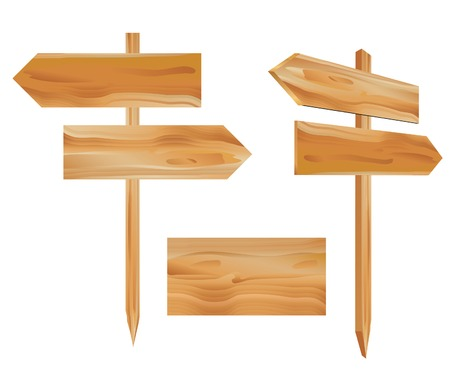 vector illustration of the wooden direction signs Vector