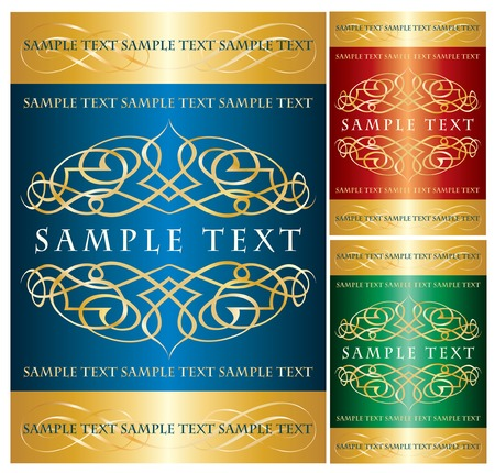 royal blue background: vector label for various products in three color variations