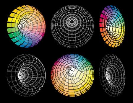 chromatique: vecteur de signes abstraits, color� et fil de fer Illustration