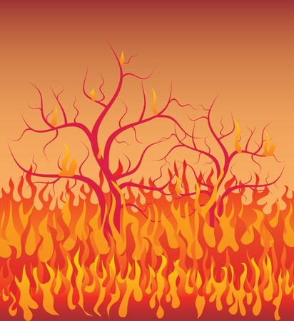 wood fire: vector illustratrion of the trees in fire