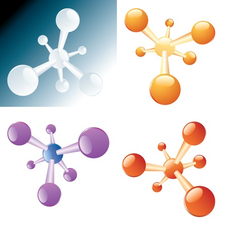 vector abstract molecules in four colors Vector