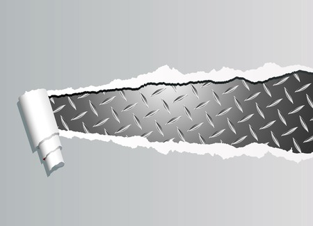 diamond plate: vector background with ripped paper and diamond metal plate