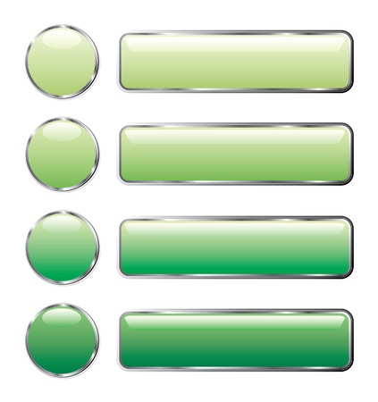 vector illustration of green web buttons Stock Vector - 5021738