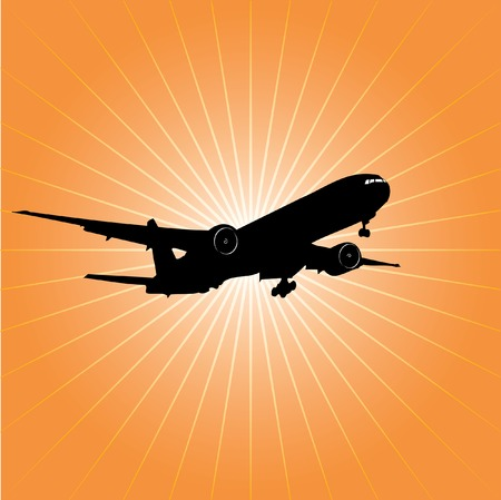vector illustration of the airplane over the sun Vector