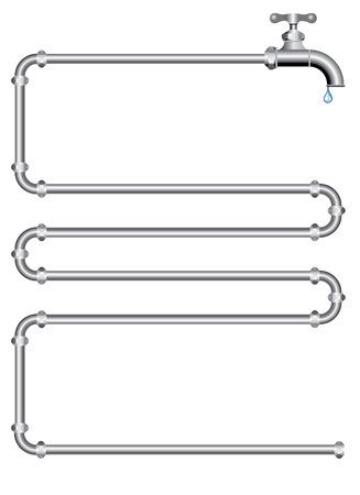 waterleiding: vector afbeelding met pijpen en Kraantje Stock Illustratie