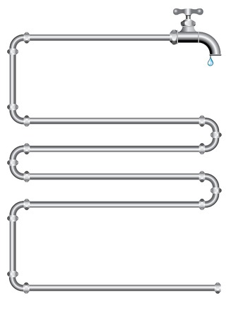 vector illustration with pipes and faucet