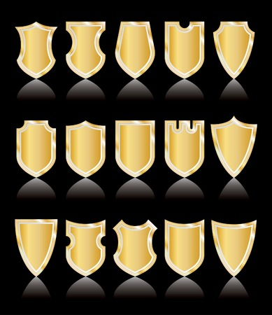 set of vector golden shields on black, layered and editable Vector