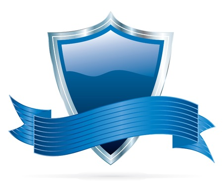 vector blue shield with silver frame Vector