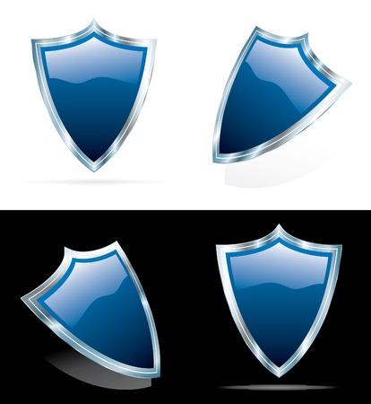 vector editable blue 3D shields Stock Vector - 5031449