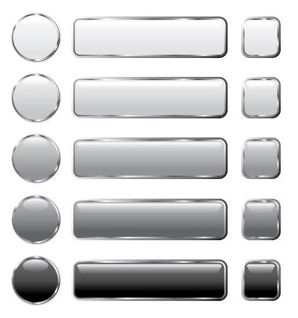 silver circle: pulsanti vettore grigio per l'informatica e web Vettoriali