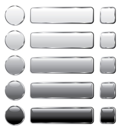 shine silver: vector gray buttons for computing and web