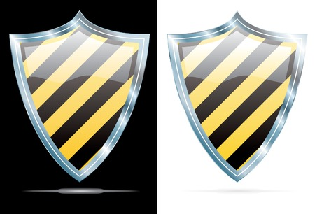 vector black and yellow stripped shield Vector