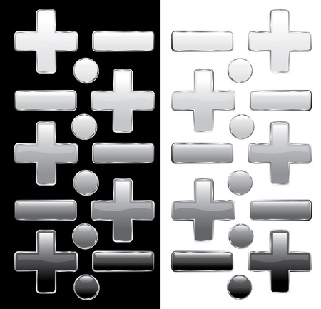 vector buttons on black and white Vector