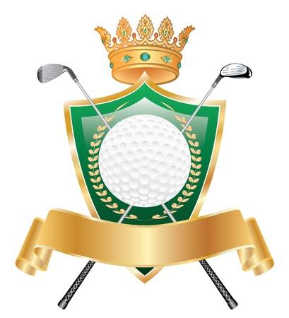 vector abstract golden golf crown award Vector